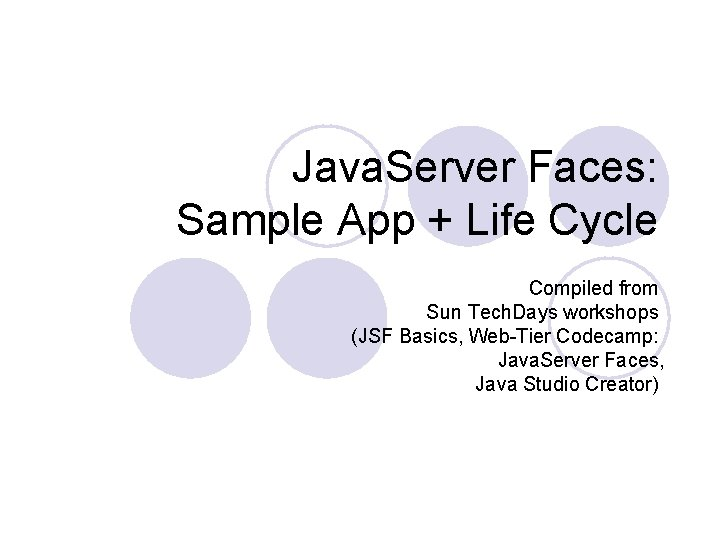 Java Server Faces Sample App Life Cycle Compiled