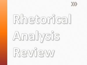 Rhetorical Analysis Review Who wrote the piece Make