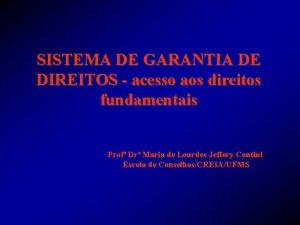 SISTEMA DE GARANTIA DE DIREITOS acesso aos direitos
