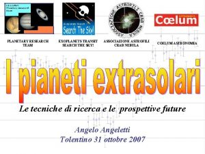 PLANETARY RESEARCH TEAM EXOPLANETS TRANSIT SEARCH THE SKY