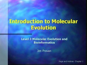 Introduction to Molecular Evolution Level 3 Molecular Evolution