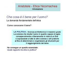 Aristotele Etica Nicomachea Introduzione Che cosa il bene