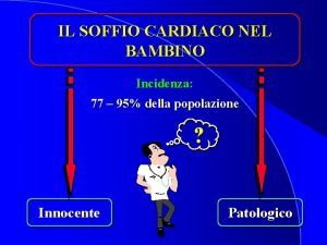 IL SOFFIO CARDIACO NEL BAMBINO Incidenza 77 95