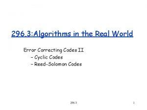 296 3 Algorithms in the Real World Error
