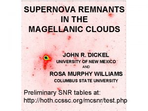 SUPERNOVA REMNANTS IN THE MAGELLANIC CLOUDS JOHN R