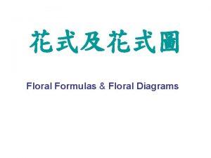 Floral Formulas Floral Diagrams Key to Floral Formulas
