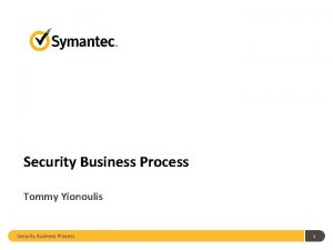 Security Business Process Tommy Yionoulis Security Business Process
