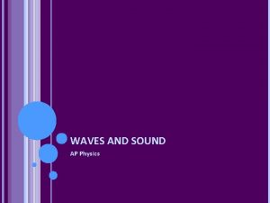 WAVES AND SOUND AP Physics WAVES A Mechanical