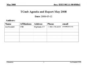 May 2008 doc IEEE 802 11 800588 r