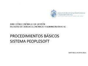 DIRECCIN ECONMICA Y DE GESTIN FACULTAD DE CIENCIAS