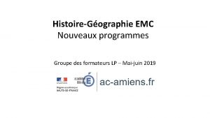 HistoireGographie EMC Nouveaux programmes Groupe des formateurs LP