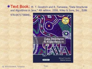 Text Book M T Goodrich and R Tamassia