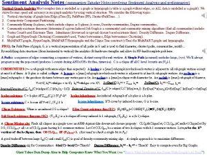 Sentiment Analysis Notes summarizes Satuday Notes involving Sentiment