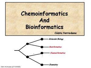 Chemoinformatics And Bioinformatics Cdric Notredame Molecular Biology Bioinformatics