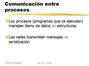 Comunicacin entre procesos z Los procesos programas que