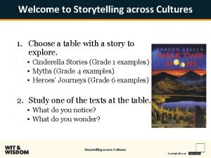 Welcome to Storytelling across Cultures 1 Choose a