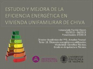 ESTUDIO Y MEJORA DE LA EFICIENCIA ENERGTICA EN