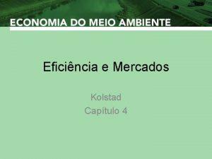 Eficincia e Mercados Kolstad Captulo 4 Eficincia e