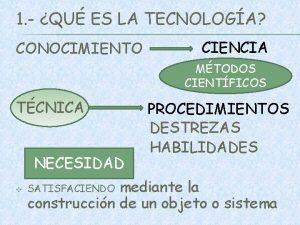 1 QU ES LA TECNOLOGA CONOCIMIENTO CIENCIA MTODOS