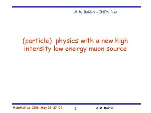 A M Baldini INFN Pisa particle physics with