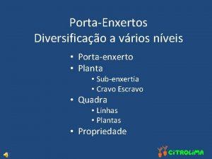PortaEnxertos Diversificao a vrios nveis Portaenxerto Planta Subenxertia