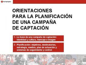 ORIENTACIONES PARA LA PLANIFICACIN DE UNA CAMPAA DE