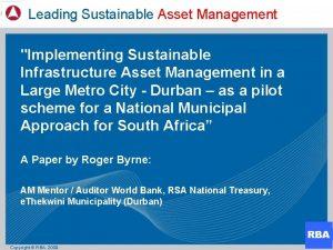 Leading Sustainable Asset Management Implementing Sustainable Infrastructure Asset