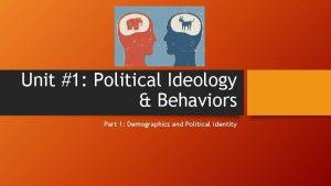 Unit 1 Political Ideology Behaviors Part 1 Demographics