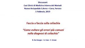 Discussant Casi Clinici di Medicina Interna del Marted