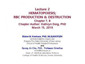 Lecture 2 HEMATOPOIESIS RBC PRODUCTION DESTRUCTION Chapter 7