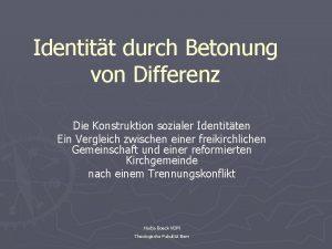 Identitt durch Betonung von Differenz Die Konstruktion sozialer