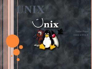 UNIX Tudor Popa clasa a IXa A Unix