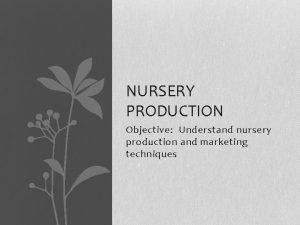 NURSERY PRODUCTION Objective Understand nursery production and marketing