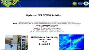 Update on EPA TEMPO Activities EPA Jim Szykman