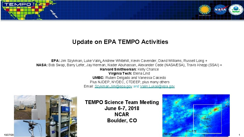 Update on EPA TEMPO Activities EPA Jim Szykman
