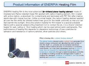 Product Information of ENERPIA Heating Film ENERPIA heating