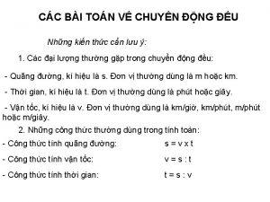 CC BI TON V CHUYN NG U Nhng