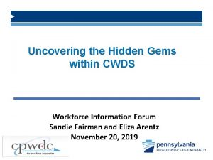 Uncovering the Hidden Gems within CWDS Workforce Information
