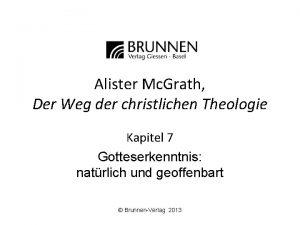 Alister Mc Grath Der Weg der christlichen Theologie