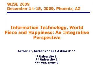 WISE 2009 December 14 15 2009 Phoenix AZ