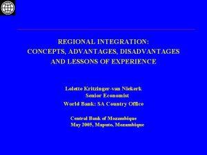 REGIONAL INTEGRATION CONCEPTS ADVANTAGES DISADVANTAGES AND LESSONS OF