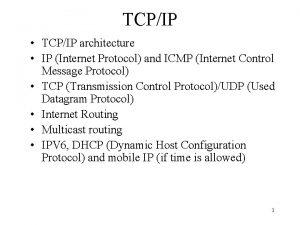 TCPIP TCPIP architecture IP Internet Protocol and ICMP