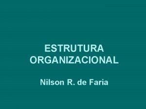 ESTRUTURA ORGANIZACIONAL Nilson R de Faria CONCEITOS ESTRUTURA
