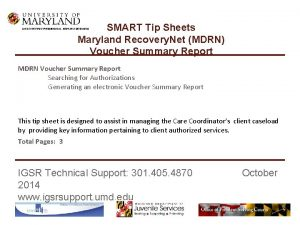 SMART Tip Sheets Maryland Recovery Net MDRN Voucher
