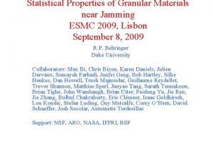 Statistical Properties of Granular Materials near Jamming ESMC