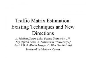 Traffic Matrix Estimation Existing Techniques and New Directions