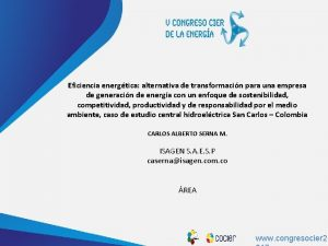 www cocier org Eficiencia energtica alternativa de transformacin