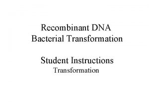 Recombinant DNA Bacterial Transformation Student Instructions Transformation Recombinant