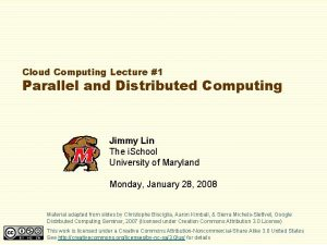 Cloud Computing Lecture 1 Parallel and Distributed Computing