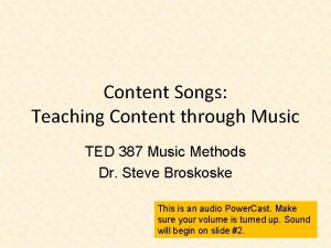 Content Songs Teaching Content through Music TED 387